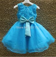 Knee Length Kids Dress 2014 New Fashion Children Communion Dresses 100%  Top Quality Age 2-10 Yrs