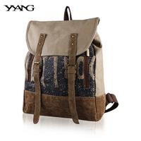 Fashion Backpacks Canvas Belts Vintage Cover Shool Bag Letter Big String Women Backpacks Printing Duffel Laptop B155
