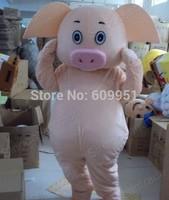 2014 adult size Halloween Christmas Maiale Pig Mascot Costume Fancy Dress Hot Sale