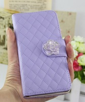 Luxury Camellia Diamond series leather pu case cover for HTC New ONE m7 wallet cases free shipping wholesales