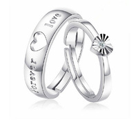 "Hot Sale ""Forever Love "" Couple Rings 925 Stamp Silver Wedding Rings Adjustable Size Engagement Rings Free Shipping"
