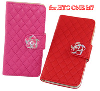 Luxury Wallet Leather Case For HTC One M7 Moble Phone Bag Cover with Card Holder Camellia Button Style