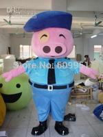 2014 adult size Halloween Christmas pig  Mascot Costume Fancy Dress Hot Sale