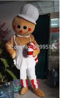 2014 adult size Halloween Christmas Gingerbread Man Mascot Costume Fancy Dress Hot Sale