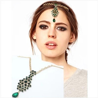 Free shipping 2014 new royal jewelry accessories fashion gem drop green hairpin ornaments punk crystal top clamp women hair clip