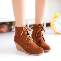 free shipping 2014 new fashion high heeled martin boots wedges ankle boots black yellow khaki X-8