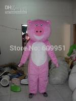 2014 adult size Halloween Christmas pink pig  Mascot Costume Fancy Dress Hot Sale
