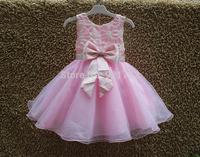 In stock ! 2014 New 100% Top Quality Children Communion Dresses Sleeveless Girls Summer Dress Kids Princess Dress 3-8 years