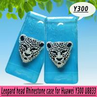Leopard head rhinestone Case for Huawei Y300 U8833 T8833,Crystal Diamond Hard Back Skin Mobile phone Case,Free shipping