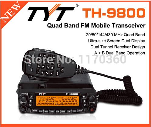 DHL freeshipp +2014 New TYT TH-9800 High power 50W Quad band mobile hf radio transceiver vhf uhf long range walkie talkie 30km(China (Mainland))