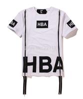 New Style Hba Hip Hop Streetwear Short Sleeve Cool Double Zipper T-Shirts Casual Men Fashion Sports Cotton Tees 2 Colors
