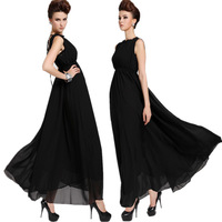 Women summer 2014 Halter Chiffon dress large Swing Maxi Long Brand Elegant pleated Dress Real shot wholesale N029