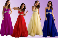 2014 Hot Sale Stock Long Formal A Line Applique Sweetheart Chiffon Bridesmaid Dresses Party Dress Wedding Prom Ball Gown