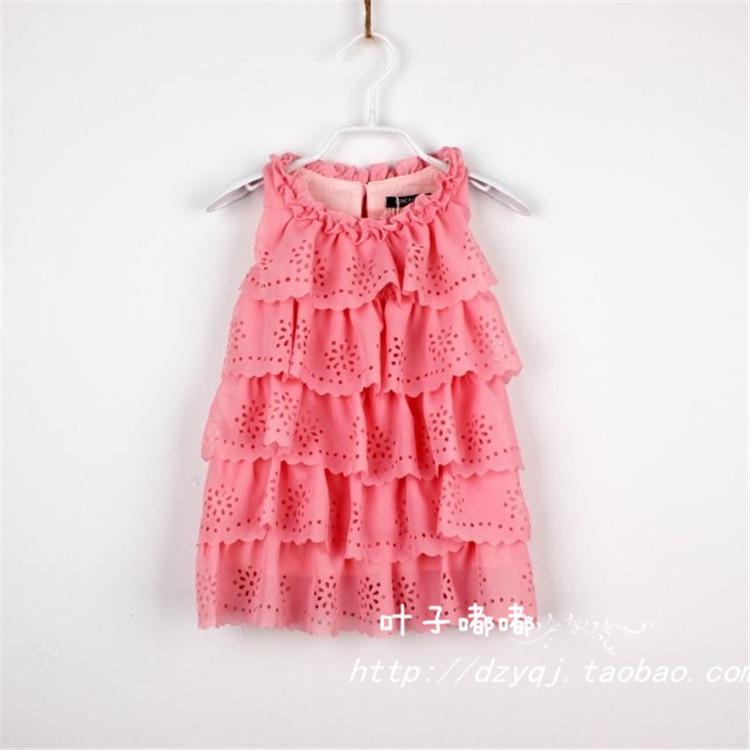 2014 Top Fasion Regular New Girls Hollow Sleeveless Vest Dress 2 Colors Girl Chiffon Cake Size 80-130 5pcs/lot Fast Shipping(China (Mainland))