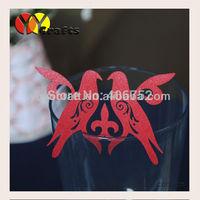Unique paper red color wedding favor laser cut love bird place card holder 2015