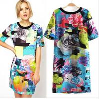Wholesale 2014 new women print dress fashion European style short-sleeved dress tartan flowers lady dress free shipping