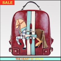 Free Shippping Vintage Pu Leather Women Backpack Horse Zipper Girls School Bag Belt Wenger Kipping Laptop B163