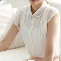 2014 Summer Beading Lace Patchwork Chiffon blouse Women Lace blouse shirt  White