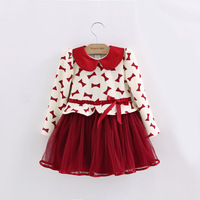 Hot Selling 2014 New Autumn High Quality  Cotton Printed Bows Children Girl Princess Tutu Dress 5pcs/lot  Free Shipping