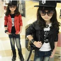 2014 Girls Outwear Hot Kids Jacket fashion Girls Jacket Children coat for girls autumn leather jackets PU Blazer zippers