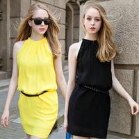 2014 new fashion women dress Candy-colored vest sleeveless chiffon dress summer chiffon halter primer dress with belt