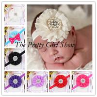 Ivory Baby Headband Infant Girls Beaded Chiffon Flower Headbands Baby Shower Gift Photography Props 30pcs/lot