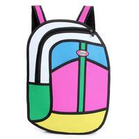 2014 Hot Sale 3D Jump Style Comic Backpacks Cartoons Knapsack for Men or Women 2D Printed Novely Gismo Canvas School bag