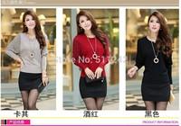Free Shipping 100Pcs/lot 2014 Spring New Korean wide round neck sweater women bottoming shirt long sleeve sweater female bats