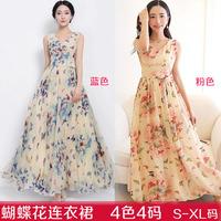 2014 summer casual Bohemian long dress,  Printed Sleeveless V-neck  Bohemian dress dress party dress