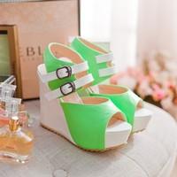 2014 new arrive  open toe platform women sandals ultra high heels sweet casual color block decoration shoes