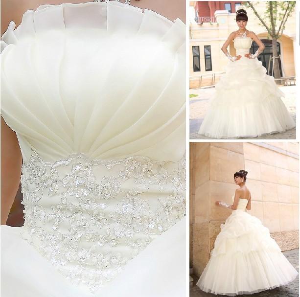 Nuovo arrivo moda celebrità 2014 bianco senza spalline/avorio abiti da sposa in organza palla abito da sposa spedizione gratuita