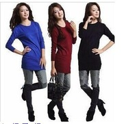 Free Shipping Hotsale 2014 Korean version of the long section bottoming bottoming shirt round neck knit sweater