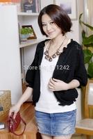 Free Shipping Hotsale 2014 Korean women's Puff Sleeve hollow shawl collar cardigan sweater Slim Doll