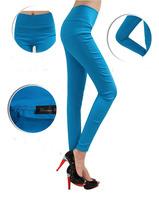 Free shippinf 2014 the new high waist high ball nine minutes pants candy color pencil pants show thin leg pants  pants leggings