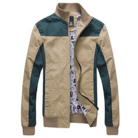 New Men's Premium Fashion Slim Casual Stand Collar Jacket,Patchwork Coat for Spring Autumn,3 Colors,Size M-XXL,B262