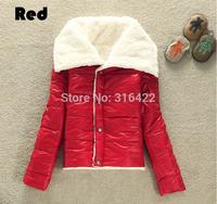 Glint Glossy Graceful Bright 2014 Tops Women's Fashion Big Lapel Autumn Winter Warmer Lamb Wool Jacket Outwear Coat  A076