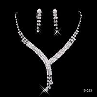 Shinning Rhinestone Wedding Party Earring Bracelet Necklace Ring Jewel Set