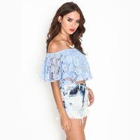 Short design slash neck tops slit neckline design Sky Blue double layer lining all lace strapless shirt
