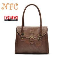atmospheric handbags, famous brand handbags Pu openwork lace, heart-shaped pendant Brown Bag