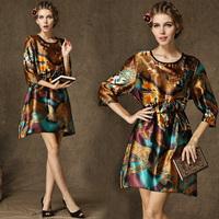 Fashion High Quality Novelty Digital Printing Three Quarter Sleeve Asymmetrical Size Plus Dress For Women With Sashes 5811#