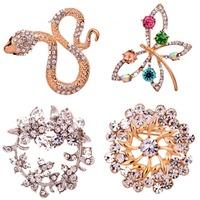 Cool Fashion Snake Butterfly Design  Pin Rhinestone Inlay Crystal  Brooch Pin Women