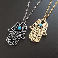 Fashion Jewelry 14K Gold Plated Brand CZ Crystal Hamsa Hand Pendant Necklace - Quality Guarantee