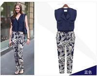 Western  New Print Design Ladies Full Pants Fashion Summer Chiffon Women Jumpsuits
