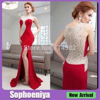 EV77518 Fashion Spilt Front Red Dresses Evening Dresses With Stones