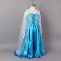 New Frozen Elsa Costume Retail Princess Elsa Yarn Blue Girls Dresses With Cloak+Frozen Crown Fashion Kids Dress For Party c40