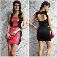 New2014 Summer Sexy Fashion Women Ladys Girls Drain back Horizontal collar Sleeveless Print Package hip Soft Cozy Dress r656