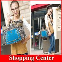 2014 Female National Trend Bag Womens Shoulder Bag Big Rivet Canvas Bag fashion hot sale