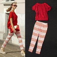 2014 New European Women's Sets Red Bat Sleeve Chiffon Shirt +Printing Feet Cool Pants Feet Cool Leisure Suit Lady Free Shipping