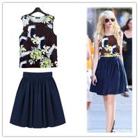 S-XL 2014 New European Women's Sets Chiffon Cashmere Vest + Skirt Paris Fashion Cool Leisure Suit For Lady Free Shipping