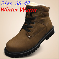 (PLUS SIZE 38-48) 2014 Winter Men's Snow boots High Quality Men Genuine Leather shoes plus fur Warm ankle martin boots 3